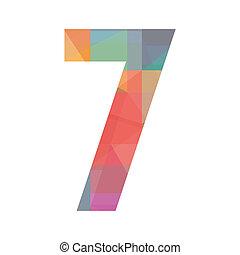 siete, número, colorido