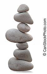 siete, pila, rocas