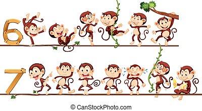 siete, seis, monos, número