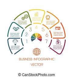 siete, semicírculo, líneas, infographic, posiciones