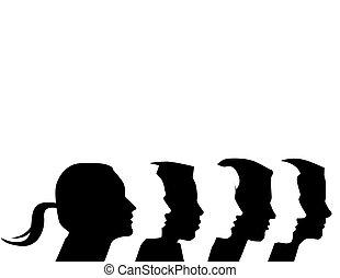 siete, vector, diverso, perfiles