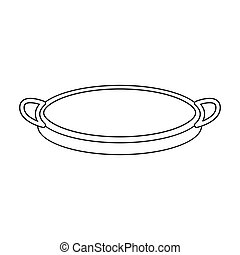 Sieve icon in outline style isolated on white background. Kitchen symbol stock vector illustration.