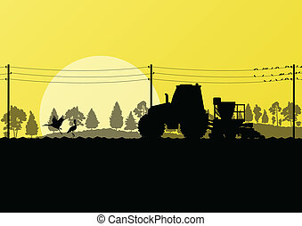 siew, kraj, traktor, wole, pole, wektor, ilustracja, tło, ...