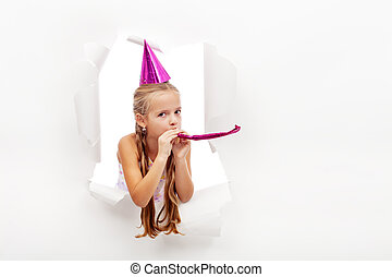 siffler, peu, chapeau, girl, fête