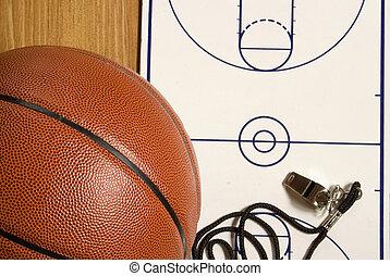 siffler, presse-papiers, basket-ball, vide