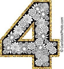 siffra, alfabet, hand, 4, oavgjord, design.