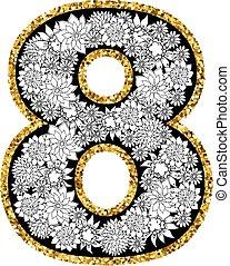 siffra, alfabet, hand, 8, oavgjord, design.