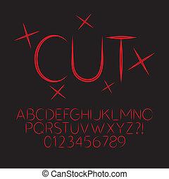siffra, snitt, alfabet, abstrakt, vektor, röd