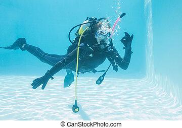 sig, femme, confection, submergé, natation, ok, piscine, ...