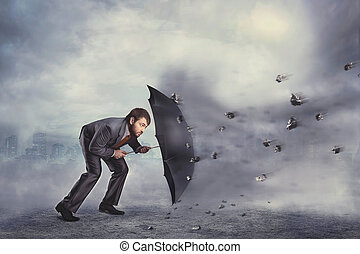 sig själv, skyddar, kris, affärsman