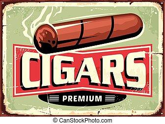 sigaren, winkel, retro, meldingsbord, ontwerp, mal