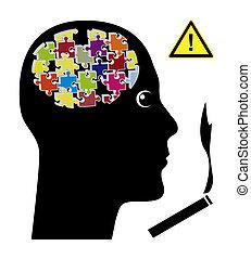 sigaret, aangrijpen, hersenen