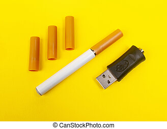 sigaret, elektronisch, gele, achtergrond.