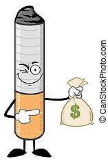 sigaret, geld, het houden zak