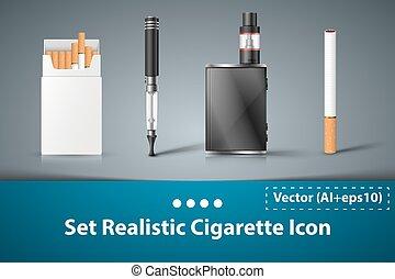 sigaret, icon., set, elektronisch