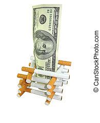 sigaret, met, geld