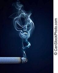 sigaret, met, rook, in, de, vorm, van, een, schedel