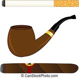 sigaret, pijp, en, sigaar