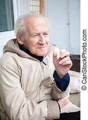 sigaretta, godere, vecchio