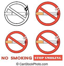 sigaretta, rosso, collezione, segno