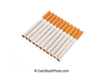 sigarette, bianco, isolato, fondo