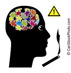 sigarette, riguardare, cervello