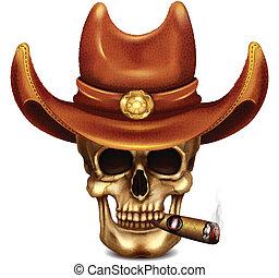 sigaro, cappello, cranio, cowboy