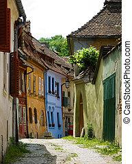 sighisoara, medieval, calle, transylvania, en, rumania