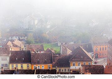 Sighisoara, medieval city, saxon landmark of Transylvania in Romania Arial view