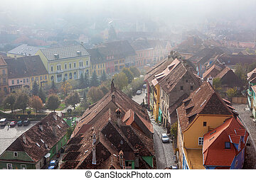 Sighisoara, medieval city, saxon landmark of Transylvania in Romania Arial view