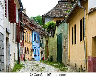 Sighisoara medieval street, Transylvania in Romania
