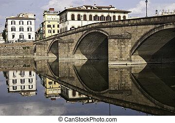 Sight of Ponte alla carraia bridge from Oltrarno