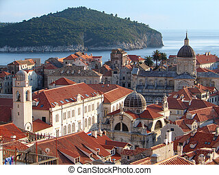 Dubrovnik roofs from city wall - Sight on Dubrovnik roofs ...