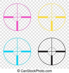 Sight sign illustration. CMYK icons on transparent...