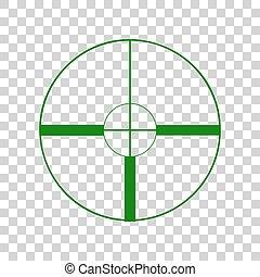 Sight sign illustration. Dark green icon on transparent background.