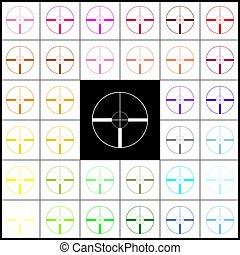 Sight sign illustration. Vector. Felt-pen 33 colorful icons at white and black backgrounds. Colorfull.