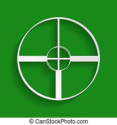 Sight sign illustration. Vector. Paper whitish icon with soft shadow on green background.