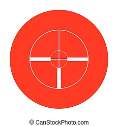 Sight sign illustration. White icon on red circle.