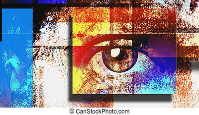 Sight - Surreal digital art. Human's eye. Mondrian style.