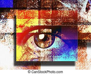 Surreal digital art. Human's eye. Mondrian style. 3D rendering.