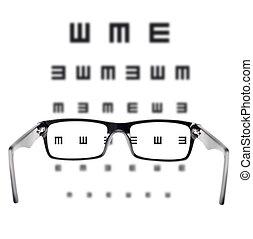Sight test seen through eye glasses, white background...
