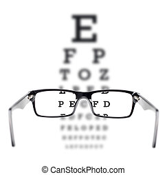 Sight test seen through eye glasses, white background ...