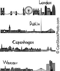 Sights of London, Dublin, Warsaw and Copenhagen, b-w vector...