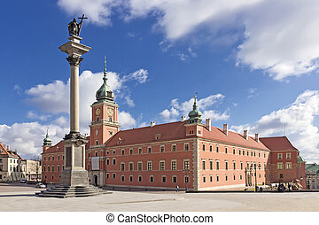 Sights of Poland. Warsaw Castle Square with king Sigismund ...