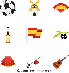 Sights of Spain icons set, flat style