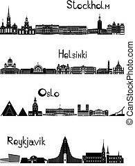 Main sights of four european capitals - Stockholm, Oslo, Reykjavik and Helsinki, drawn in black and white style.