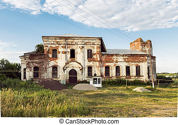 Sights of the Saratov region. Historical building in the Volga region of Russia 19th century 1872 year. A series of photos of an old abandoned ruined church of the Church of St. Michael the Archangel in the village of Loh
