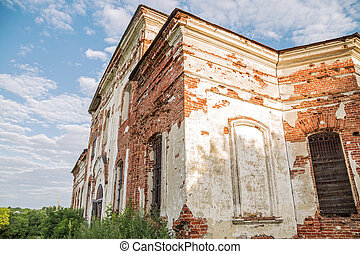 Sights of the Saratov region. Historical building in the Volga region of Russia 19th century 1872 year. A series of photographs of an old abandoned ruined church of the Church of St. Michael the Archangel in the village of Loh