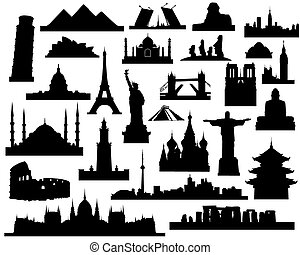 sights of the world - vector silhouettes attractions of the...