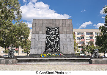 Sights of Warsaw. - Monument of Ghetto Heroes. Nazi Victims.